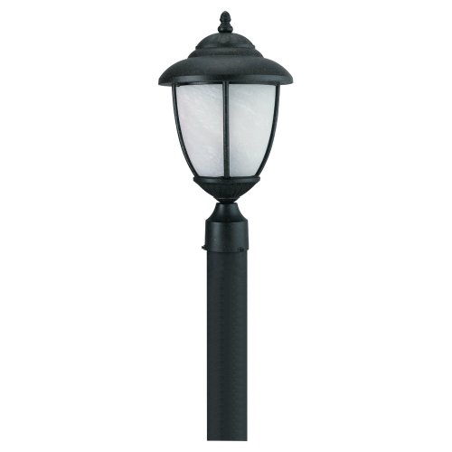 Sea Gull Lighting 82048-185 Outdoor Post Mount with Swirled MarbleizeGlass Shades, Forged Iron Finish