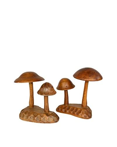 Uptown Down Previously Owned Set of 2 Monkeypod Mushroom Toothpick Dispensers