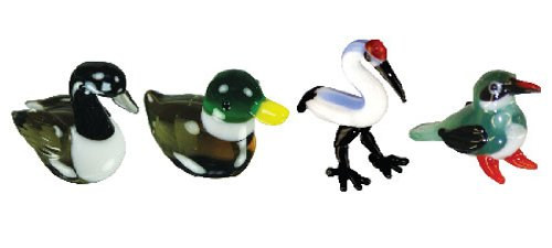 Looking Glass Miniature Collectible - Goose / Duck / Crane / King Fisher (4-Pack)