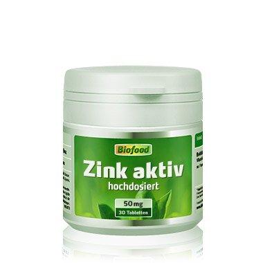 Biofood Zink aktiv, 50mg, extra hochdosiert, hohe Bioverfügbarkeit. 30 Tabletten. Wichtig für Wachstum, Wundheilung und Hormonhaushalt.