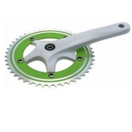 RIDEWILL BIKE Guarnitura scatto fisso perno quadro alluminio 46x170 1/8 bianco/verde (Guarniture City Fixed) / crankset fixed square aluminum 46x170 1/8 white/green (City Fixed Cranksets)