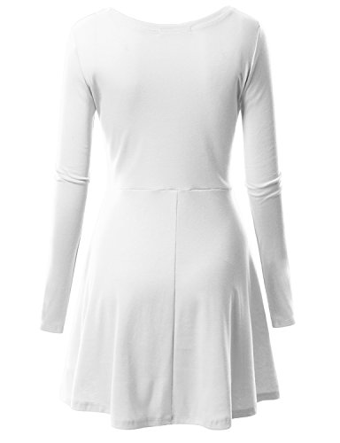 Doublju Womens Long Sleeve Round Neck FlaWHITE Skater Dress WHITE SMALL