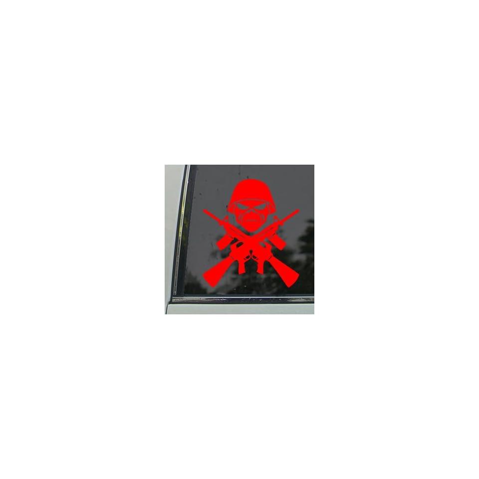 Eddie Machine Guns Iron Maiden Band Red Decal Car Red Sticker