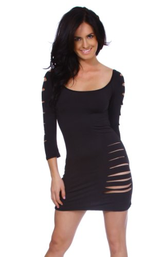Sexy Clubwear Black 3/4 Sleeve Abstract Cut Out Up Short Mini Dress