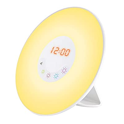 Sunrise Simulation Wake Up Light, GRDE Alarm Clock Night Light Bedside Lamp with Nature Sounds FM Radio,Touch Control