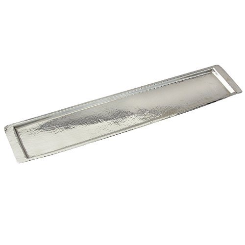 Elegance Stainless Steel Hammered Rectangular Tray, Large, 25.5 by 5.5-Inch, Silver