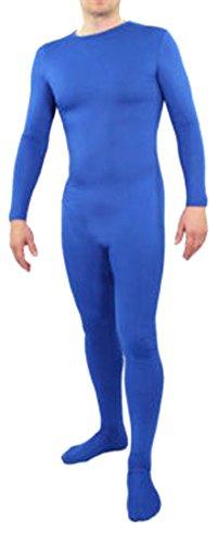[Seeksmile Unisex Lycra Spandex Zentai Body Suit Hoodless Catsuit (Medium, Blue)] (Blue Spandex Suit)