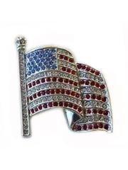 Signed Swarovski USA Flag Pin with the Swanlogo
