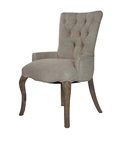 Zentique Iris Tufted Chair, Natural Cream/Brown