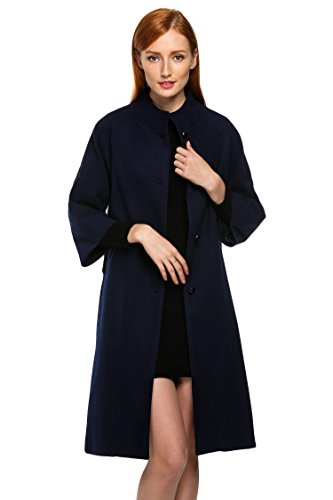 ACEVOG Womens Ladies Warm Button Wool Blend Coat Long Pea Coat Jacket Navy Blue M