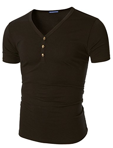 Doublju Mens Casual Y-neck T-shirts Tee, Brown US XX-Large / Asia XXX-Large