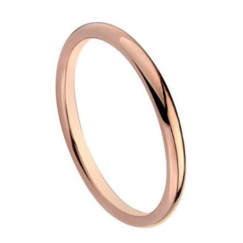 2mm Men's or Ladies Rose Gold Shiny Tungsten Wedding Band Dome Ring (Available in Sizes 5 to 12)