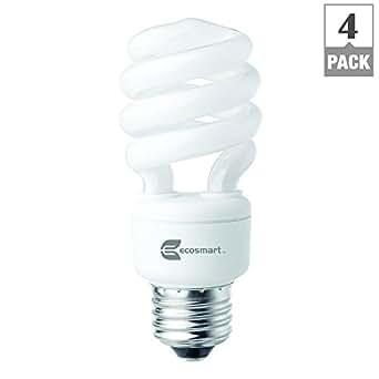 EcoSmart 60W Equivalent 5000K Spiral CFL Light Bulb, Daylight (4-Pack)