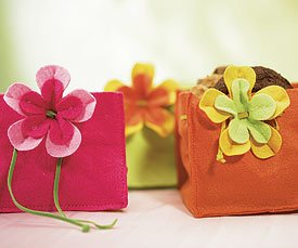 Miniature Funky Felt Gift Bags - Pumpkin Orange
