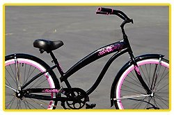 Anti-Rust Aluminum Alloy Anti-Rust Frame, Fito Modena EX Alloy 1-speed - Metallic Black/Hot Pink, women's 26
