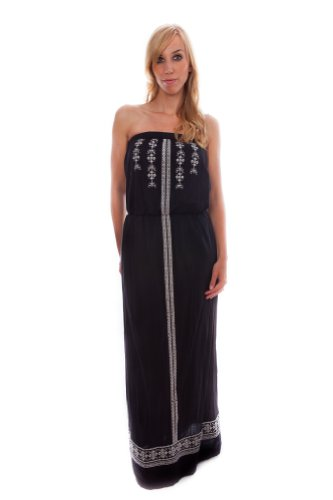 VELVET BY GRAHAM & SPENCER Women's Embroidered Crinkle Gauze Strapless Maxi Dress, Black/Cream, Small