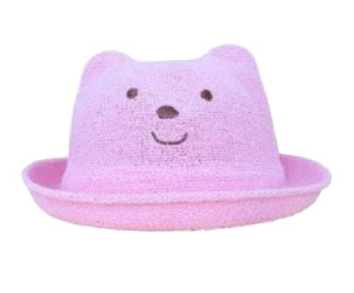 ベビー キッズ クマ耳付き帽子 くまさん帽子 (ピンク)
