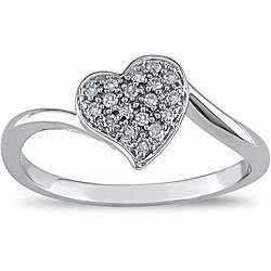 1/10ct Diamond Heart Ring in 10k White Gold