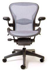 Herman Miller Aeron Size B Platinum Pellicle Graphite Frame Leather Armrests Lumbar Support