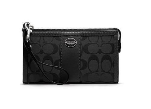 Coach   Coach Leather Signature Zippy Wallet Wristlet 48625 Black
