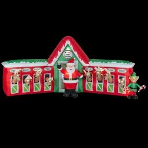 Christmas Decoration Lawn Yard Inflatable Santa Clause In Stable With 8 Reindeer 12' front-79755