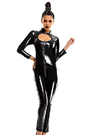 Amour-Black Sexy Catsuit Lingerie Halter Gothic Fetish Zipper Front - One Size (P7028)