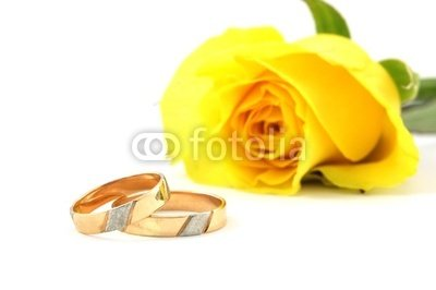 Wallmonkeys Peel and Stick Wall Decals - Wedding Rings and Yellow Rose at the Background - 36