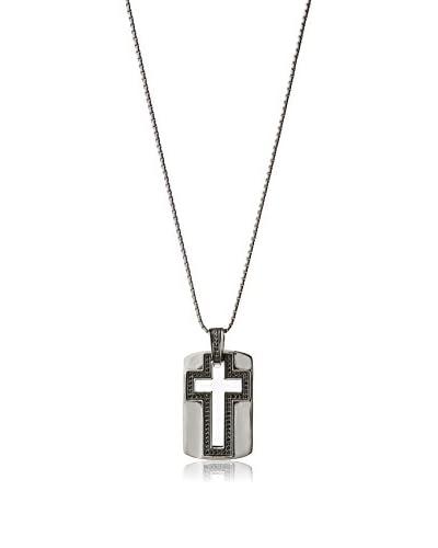 Stephen Oliver Cutout Black CZ Cross Necklace