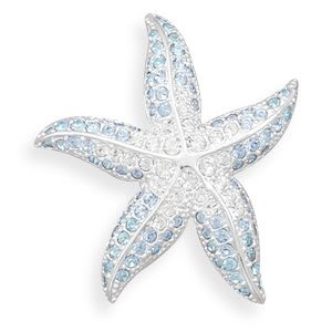 Blue and Clear Swarovski Crystal Starfish Fashion Pin