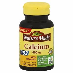 Amazon.com: Nature Made Calcium Supplement with Vitamin D, 600mg, Tablets 60 ea: Health