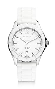 Golana Aura Three Hands Women's Quartz Watch with White Dial Analogue Display and White Rubber Strap AU300-2