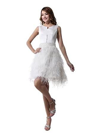 herafa p31464-8 Robes De Bal Magnifique Col ras du cou Sans manche Perles Délicates mini Princesse Blanc