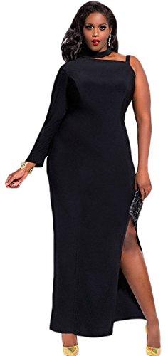 Mxtoppy Plus Size Women Sexy Casual Dress Night Clubwear Party Cocktail Midi Dress Slit One Sleeve Black (XXXL)