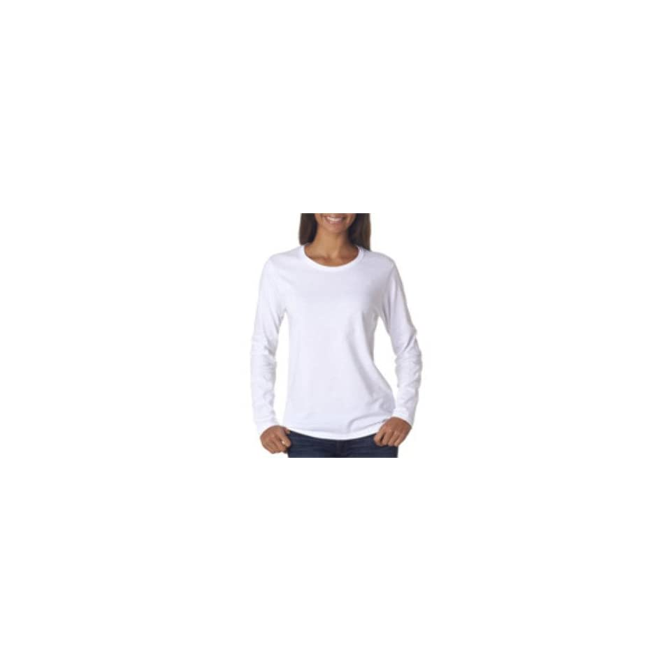 Gildan Missy Fit Heavy Cotton Fit Long Sleeve T Shirt White L