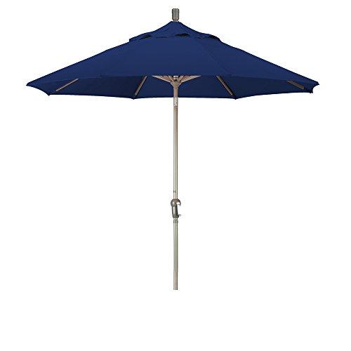 California Umbrella 9' Round Aluminum Pole/Ribs, Crank Lift/Auto Tilt, Champagne Pole, Sunbrella Navy Fabric