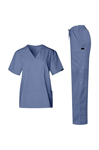 MedPro Women's Unisex Medical Scrub Set (Top & Bottom) Light Blue L(1872.0) (Fashion Seal compare prices)
