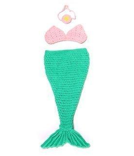 Winglife-Newborn-Baby-Girl-Crochet-Mermaid-Three-piece-Outfit-Set-Costume-Photo-Prop