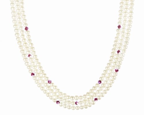 Gold Plated Sterling Silver Clasp with Crystallized Swarovski Elements AB Bicone Janury Birthstone Garnet Color and White Freshwater Cultured Pearl Beaded Necklace