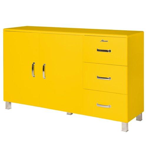 Miami 155738GE Sideboard mit 2 Turen und 3 Schubladen, Holz, gelb, 43 x 146,4 x 88,8 cm