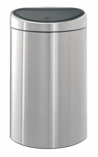 Brabantia Touch Bin Twin Bin with 10 Litre and 23 Litre Plastic Buckets, Matt Steel