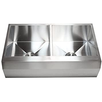 "Ariel 36"" x 22"" Stainless Steel 16 Gauge 50/50 Double Bowl Farmhouse Kitchen Sink"