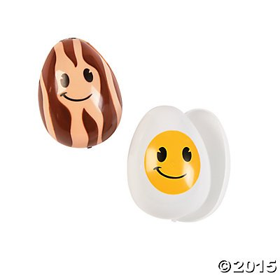 Plastic Bacon and Eggs Easter Eggs - 12 ct