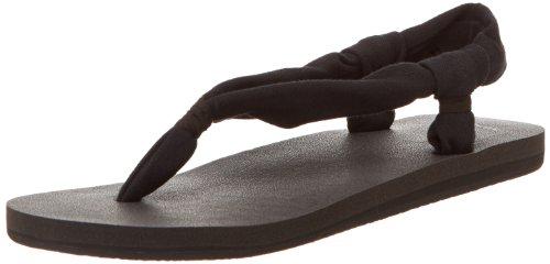 Sanuk Women's Yoga Slingshot Flip Flop,Black,8 M US