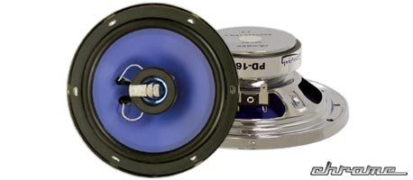 """Phonics Digital Pd-160 6.5"""" Chrome Finished Coaxial 2-Way Car Speaker System"""