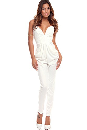 Lolli Couture Deep V-Neckline Sleeveless Long Jumpsuit S White front-23152
