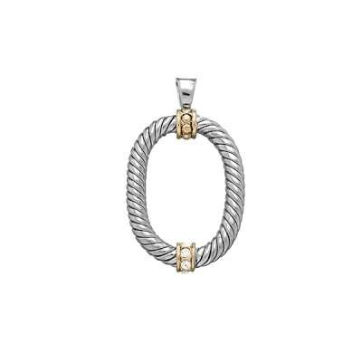 Charm Necklace Pendant Jewelry 925 Sterling Silver Open Oval Shaped with Center and Top GP CZ Circle Design(WoW !With Purchase Over $50 Receive A Marcrame Bracelet Free)