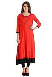 kanah shri Red Colour Rayon Fabric Round Neck In long Length 3/4th Sleeve Kurta/Kurti For Women/Girls