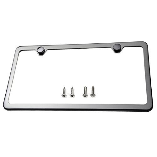 Slim Style Polished Stainless Steel License Plate Frame Gunmetal Black Finish (License Plate Frame Gun Metal compare prices)