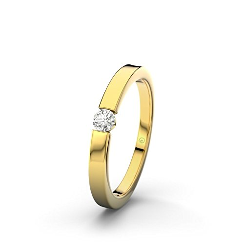 21DIAMONDS Triest Women's Ring 9 Carat (375) Yellow Gold Brilliant Cut Diamond Engagement Ring 0.1 Carat Engagement Ring