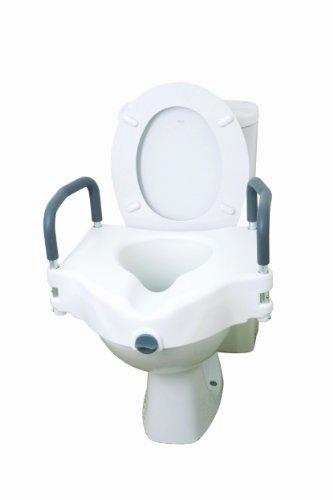 Drive Medical 12027RA - Rialzo per sedile WC 2 in 1, con braccioli rimovibili